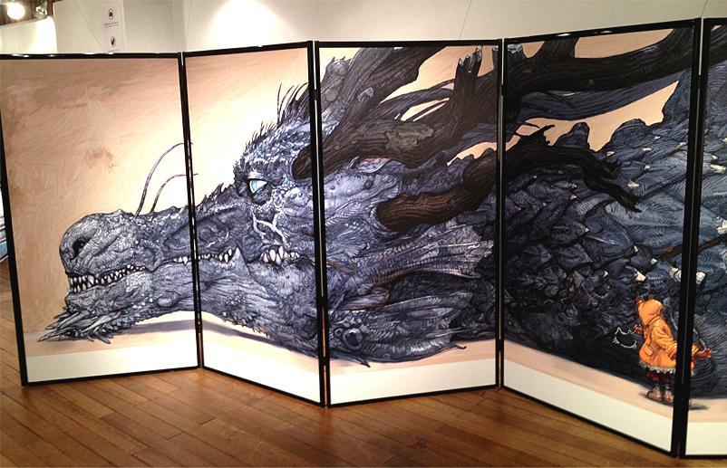 寺田克也さんによる猫とドラゴンの襖絵