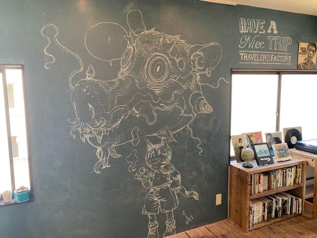 黒板に描かれたライブドローイング
